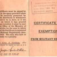 Certificate of Exemption from Military Service : 1918
