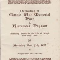 Programme : Dedication of Marple War Memorial Park & Pageant : 1922
