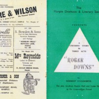 "Marple Dramatic Society Production : ""Roger Downs""  1954"
