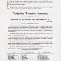 Derbyshire Education Committee circular to Managers & Teachers :  1932