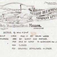 Mellor Bleaching Co. Ltd, Mellor : Letterhead & Important Dates