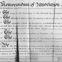 Memorandum of Association : 1865