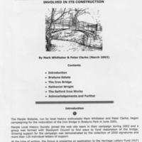 Brief History on Iron Bridge Restoration Project Application for Lottery Funding : 2003