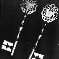 Photograph of Keys and Trowel for Ceremonial opening 1875.