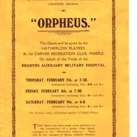 Flyer promoting Orpheus : Hatherlow Players