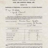Fuel & Lighting Order Registration Document : 1938/39