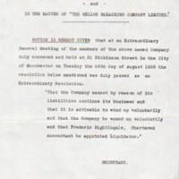 Extraordinary Meeting : Mellor Bleaching Co.Ltd : 1928 : Winding Up