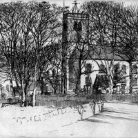 Sketch dated 1900 & sepia photo (undated) of All Saints Church