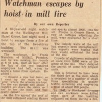 Newspaper cutting : Fire at Wellington Mill, Hazel Grove