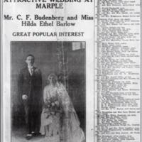 Newspaper report of Budenberg Wedding : 1926