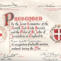 WW1 : Red Cross Certificate : Miss Edith Edwards