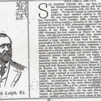 Notes on Life & Career of Sir Joseph Leigh