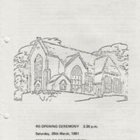 Leaflet : Re-opening Ceremony and Service of Re-dedication Programme : 1981