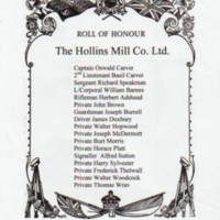 Roll of Honour : Goyt Spinning Co.Ltd & Hollins Mill Co Limited