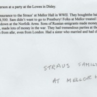 Notes about Straus Family at Mellor Hall