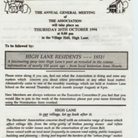 High Lane Residents Association AGM : 1994