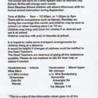 Bank Meadow School : Arrangements for Evacuees : 1939