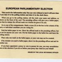 Official Poll Card for European Parliamentary Election : 1999