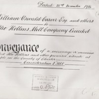 Conveyance of The Hollins and other Marple premises - William Oswald Carver and others to Hollins Co. Ltd Mill 1914