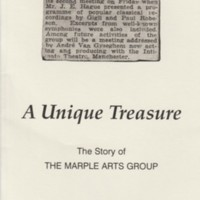 Booklet : A Unique Treasure : The Story of The Marple Arts Group by Richard McClean