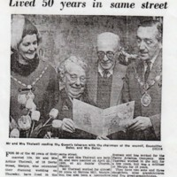 Mr & Mrs Arthur Thelwall Newspaper report on Diamond Wedding Anniversary : 1965
