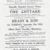 Auction Notice : The Cottage, Townscliffe Lane : 1920