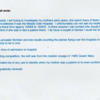 Mrs Kell, Patient at Marple Dale Hospital