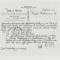 Copy of Plumbers Bill : T J Ward : 1910