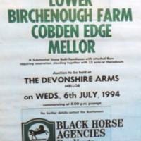 Lower Birchenough Farm, Cobden Edge : Auction Notice : 1994
