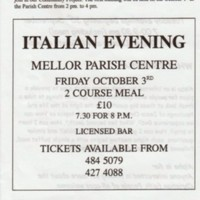 Newspaper cuttings & Misc. Flyers advertising events at the Parish Centre