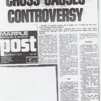 Newspaper cuttings relating to  Cobden Cross from 1970's