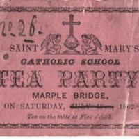 Ticket for Tea Party at St. Mary's :  1862