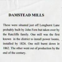 Short history of Damstead Mill
