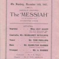 Programme : Handel's  Messiah at Marple Ridge Church : 1927
