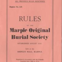 Marple Original Burial Society Rule Book
