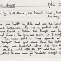 Rose Hill House information from Mr F G Nixon : 1987