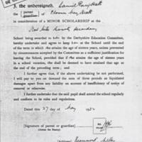 Minor Scholarship  :  Derbyshire Education Committee : 1932