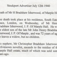 Death Notice for Mr H Bradshaw