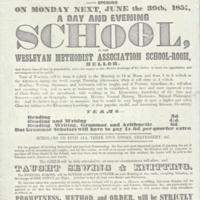 Flyer announcing :  H R Wrigley Day & Evening School : 1851
