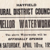 Poster for Mellor Waterworks : Opened 1926