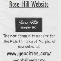 Flyer for Lauch of Rose Hill Website