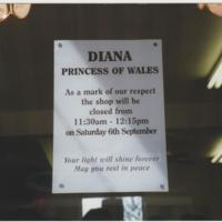 Notice in Marple shops : Princess Diana's funeral : 1977