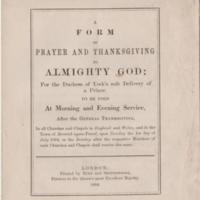 Form & Prayer of Thanksgiving 1894