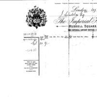 J Swindells Esq receipt  from The Imperial Hotel, London