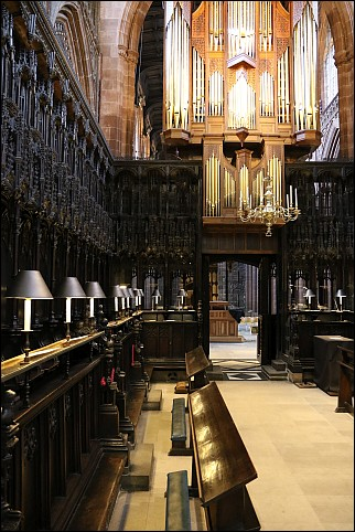 Choir stalls and organ