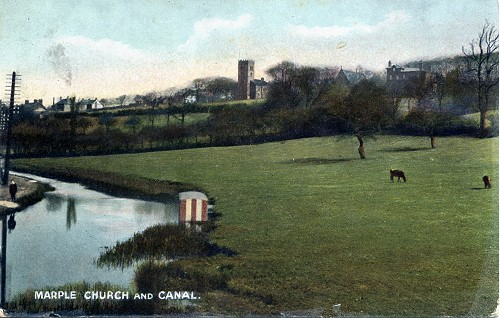 Hand Coloured postcard 1908 Macclefield Canal