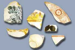 Sherds of pottery found in archaeological excavatio