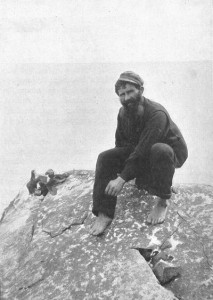 A St Kildan man hunting puffins in the late 19th century.